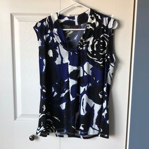 Dana Buchman black blue & white print top
